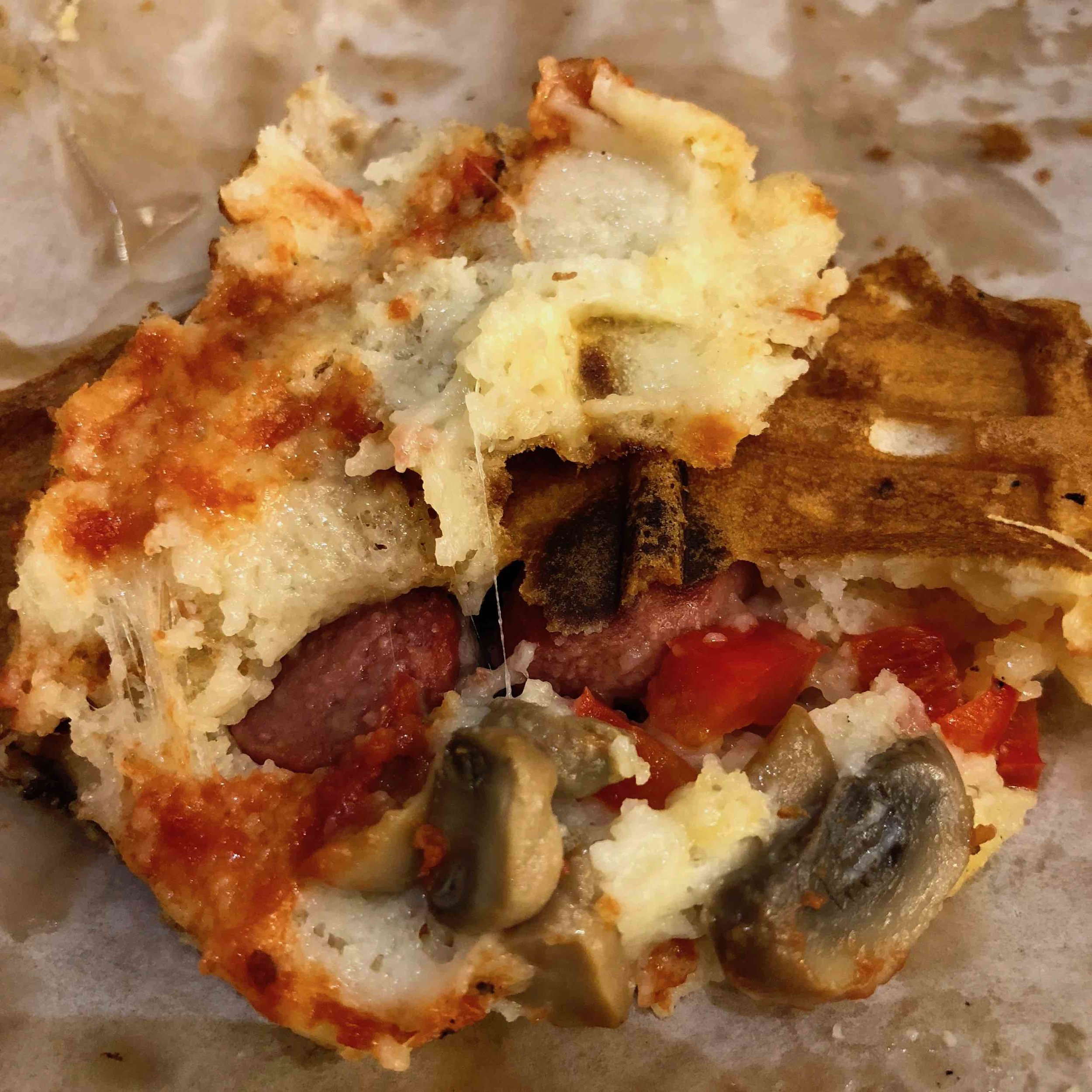 inside of a waffle pizza