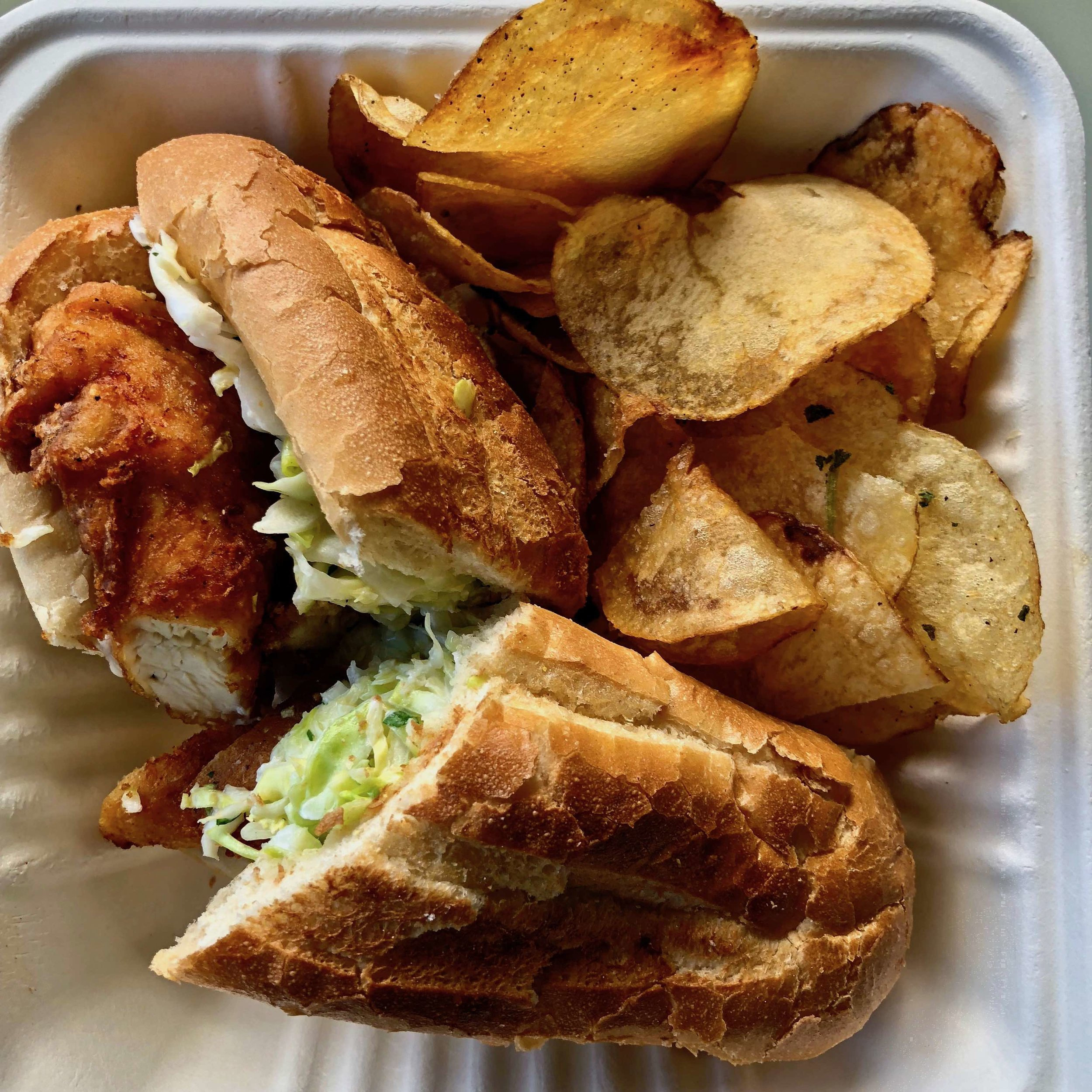 fried chicken sandwich and chips $10.75