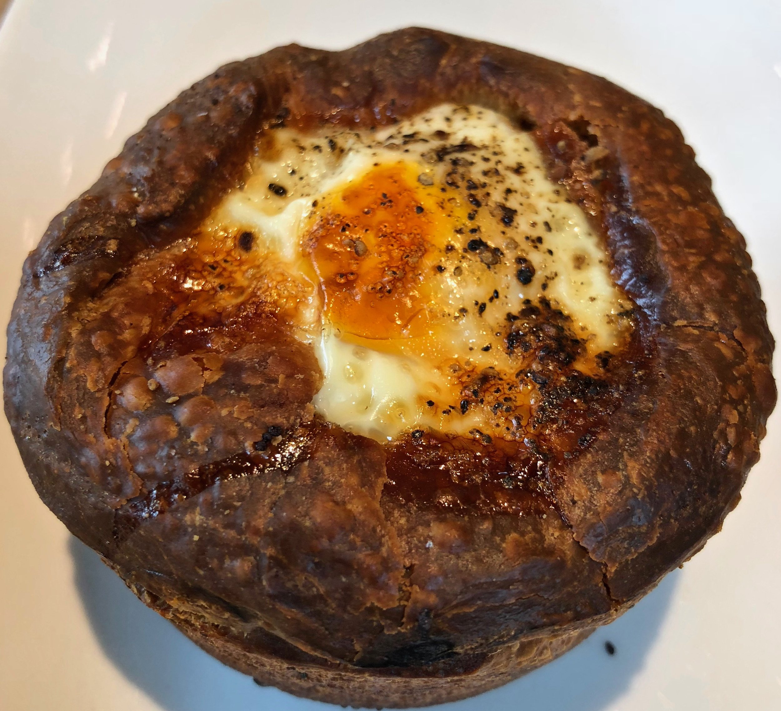 top side of egg baked in bread