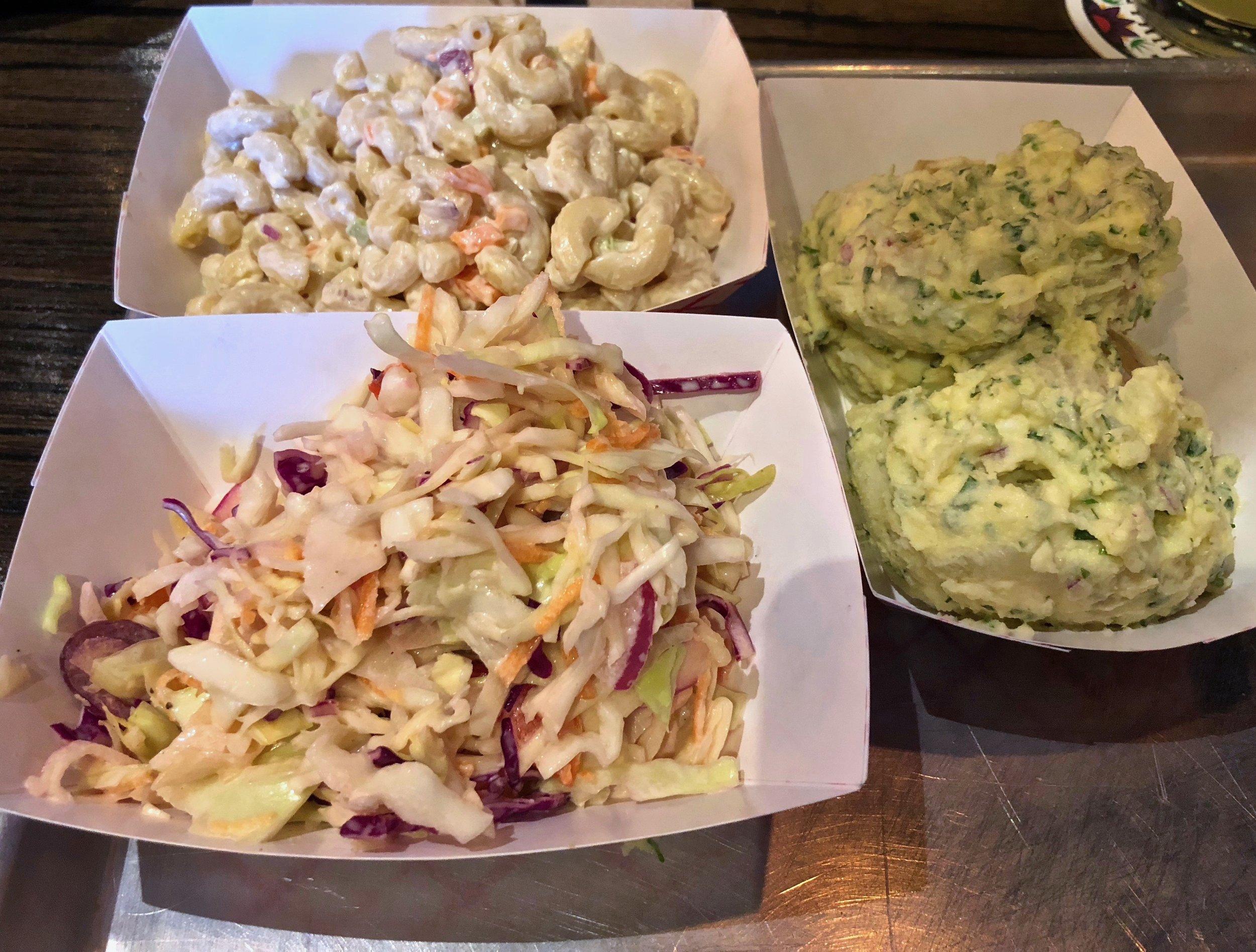 macaroni salad, cole slaw and potato salad