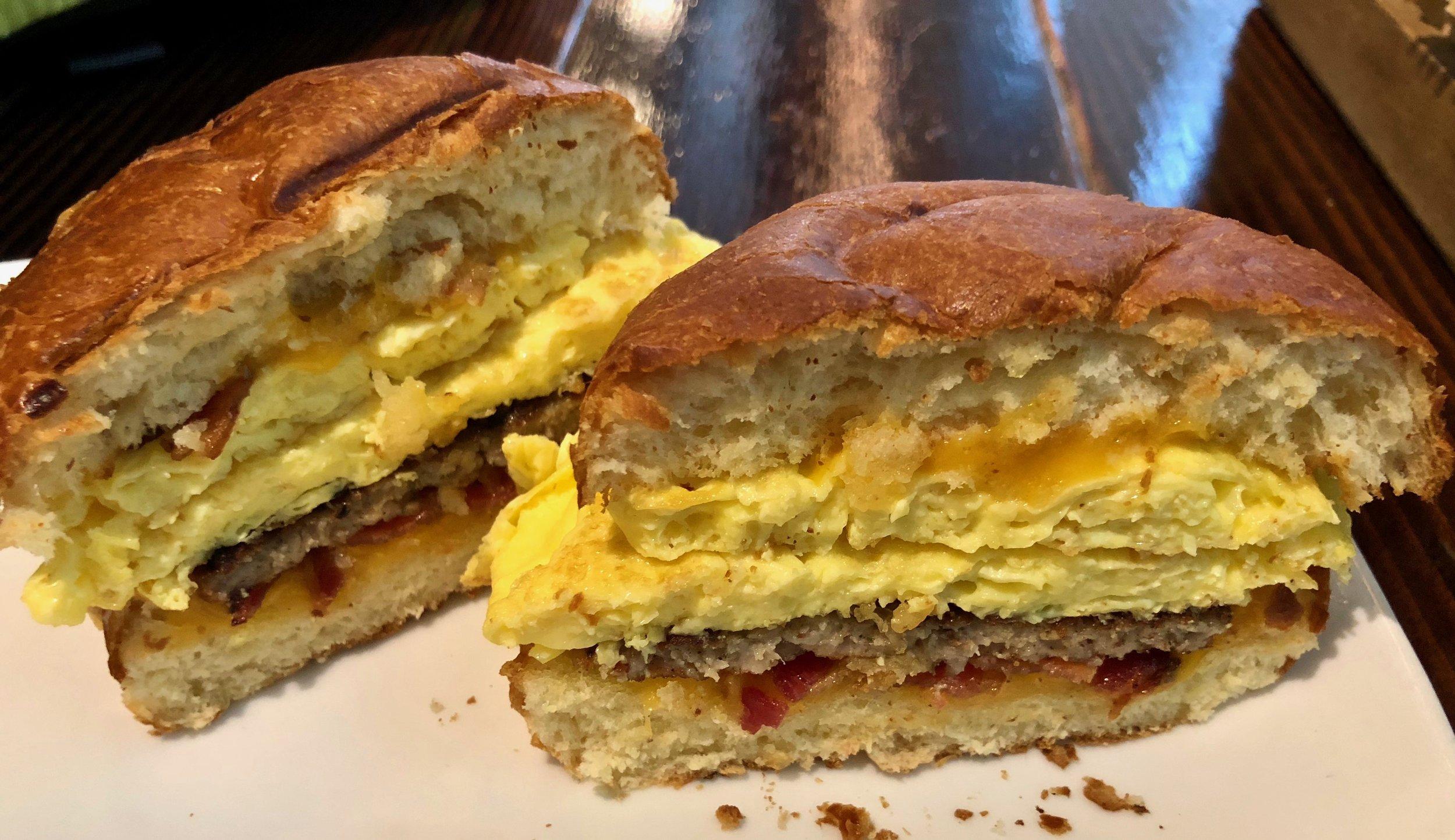 inside the breakfast sando