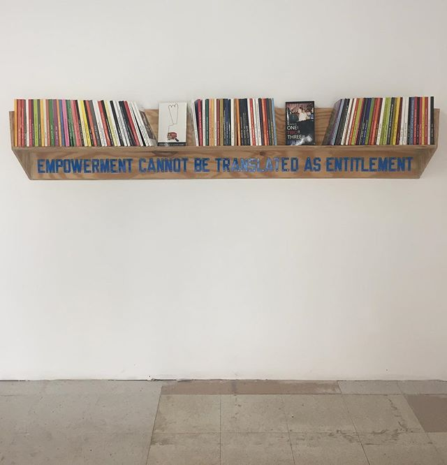 Limited edition artist made books AND bookshelves at @onestarpress @grandarmycollective #lawrenceweiner #artistbooks #brooklyngallery #bibliophilelife #brooklyn #grandarmycollective #bookshelfie #limitededition #woodwork #bookshelfgoals Nice to meet you @maddi_qu