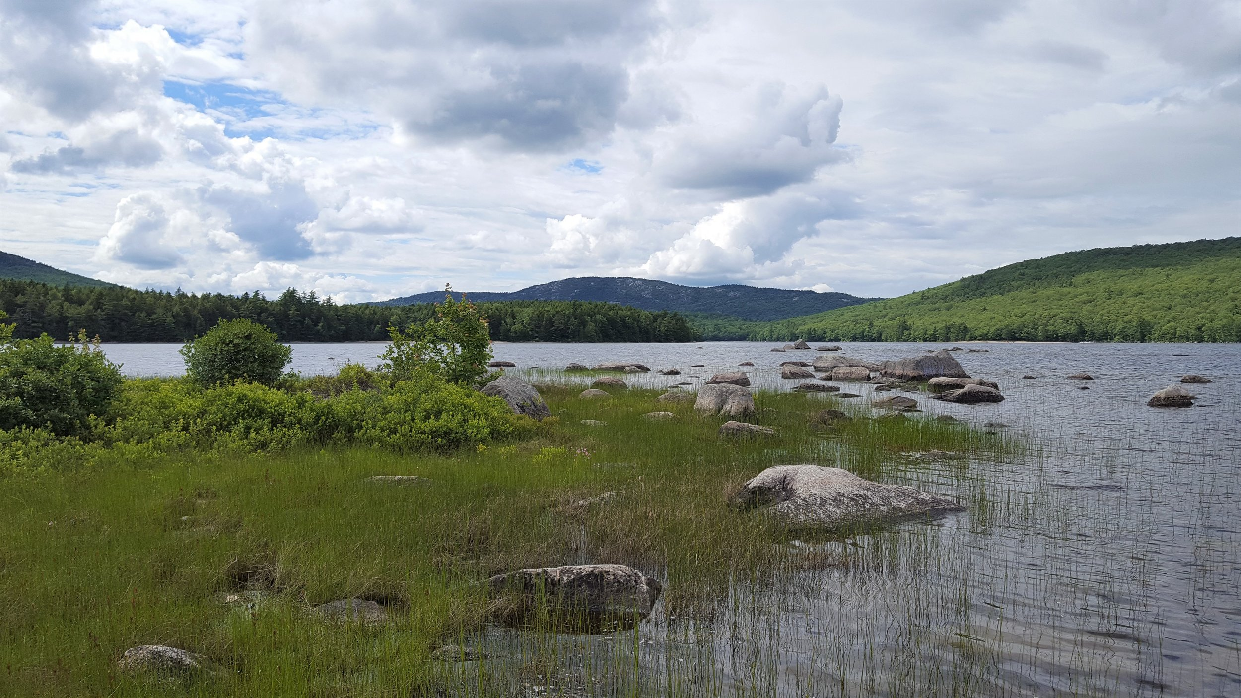 Tunk Mountain from an island in the lake's southern arm.