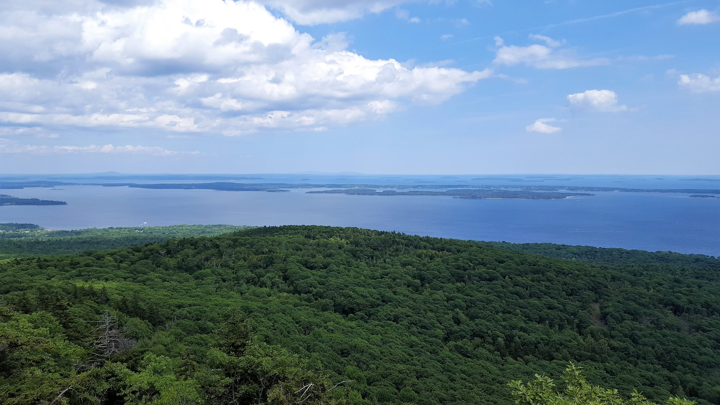 The view from the summit, looking across Isleboro toward MDI