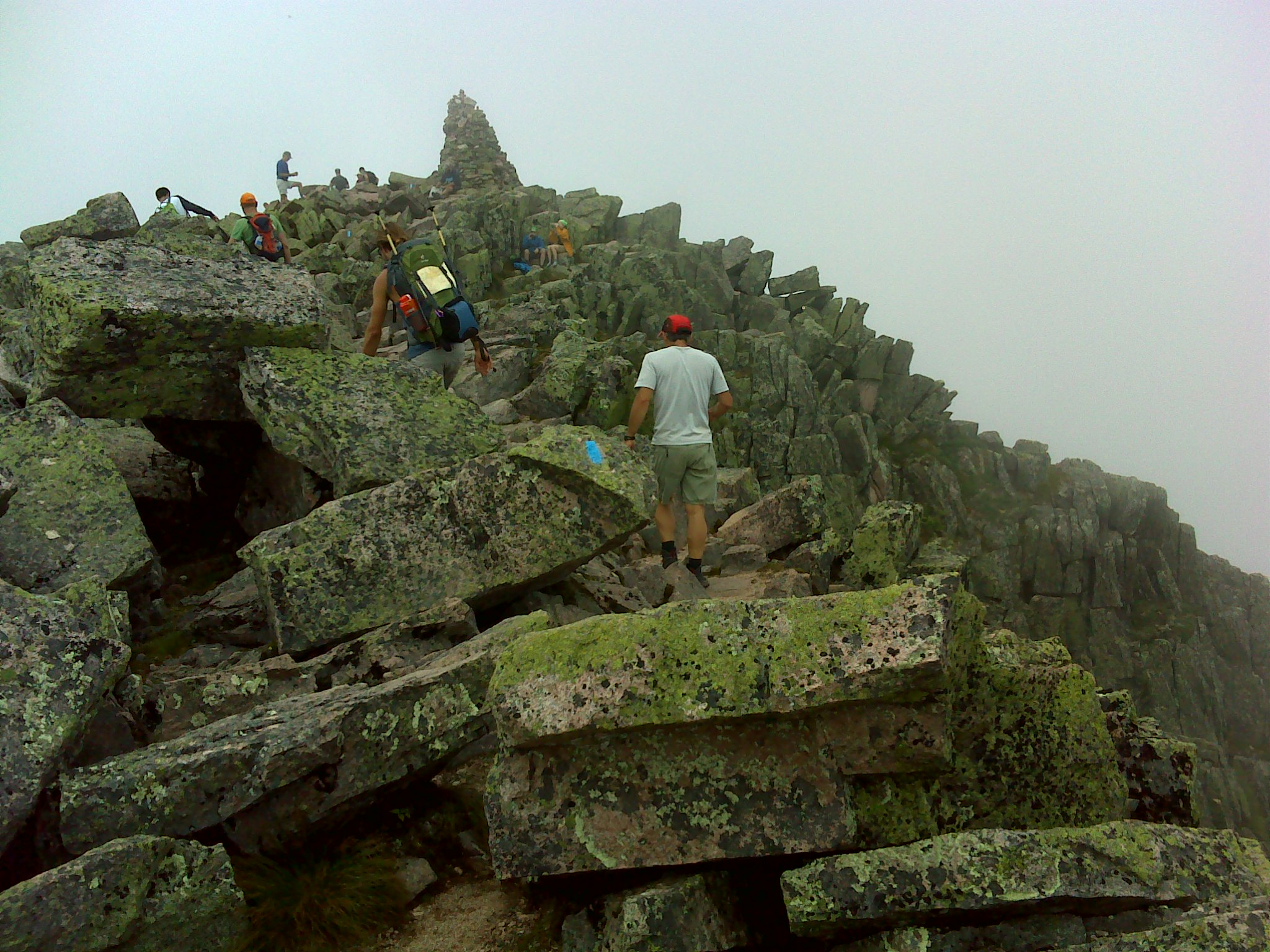 The cairn on Baxter Peak's summit makes Katahdin exactly one mile high