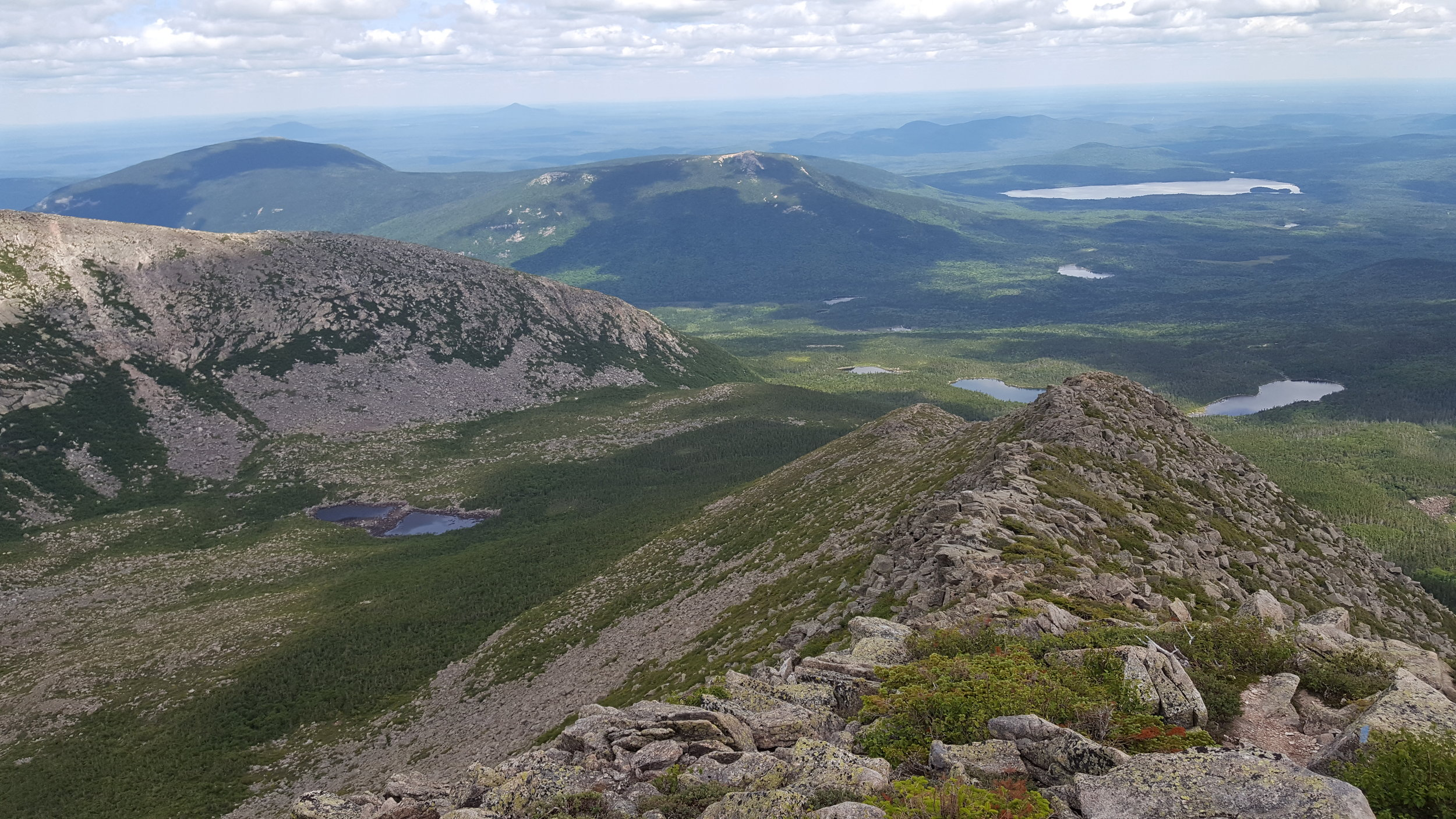 Looking down Hamlin Ridge with the pond in North Basin in view