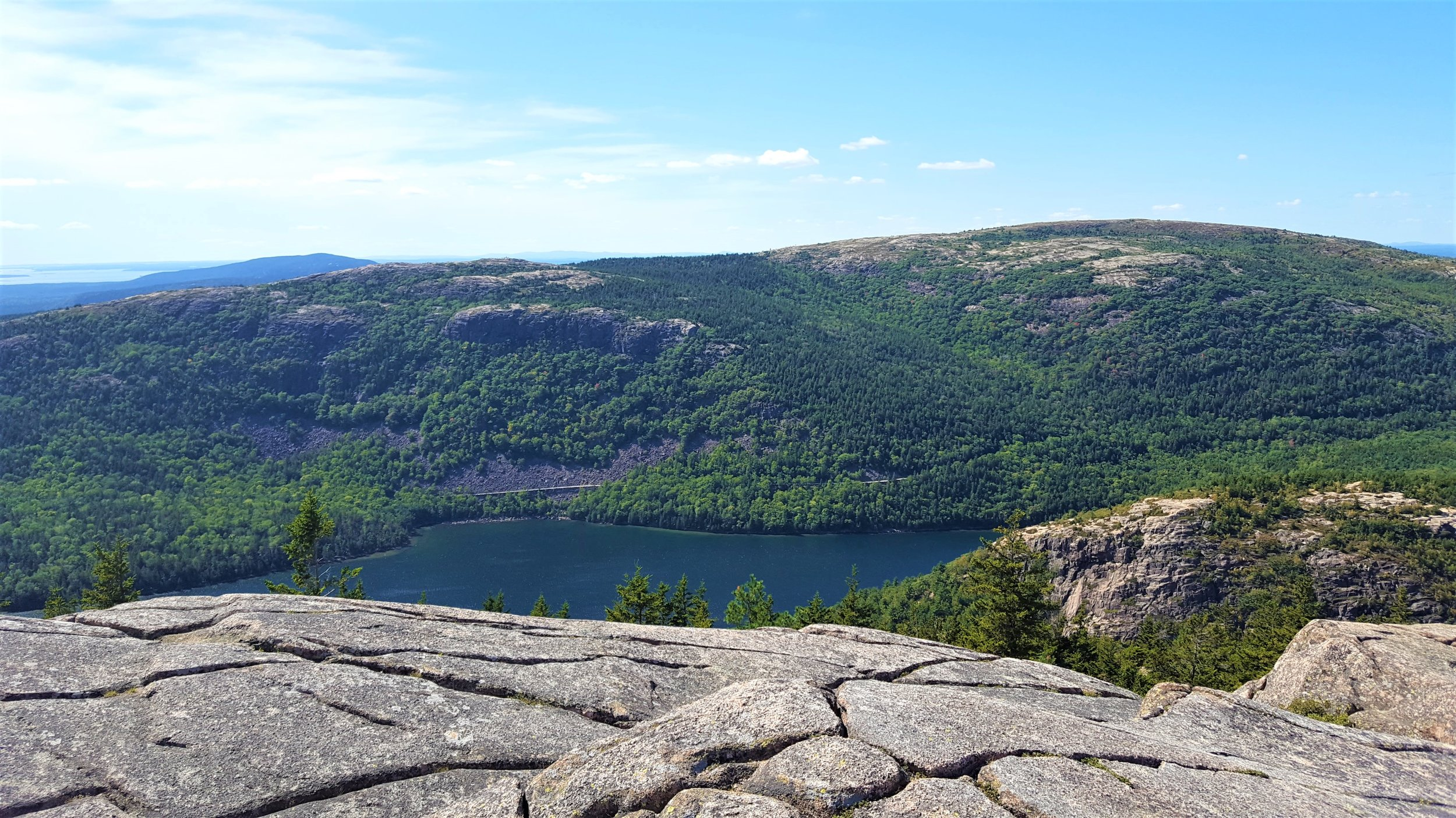 Jordan Cliffs rising above Jordan Pond seen from Pemetic Mountain