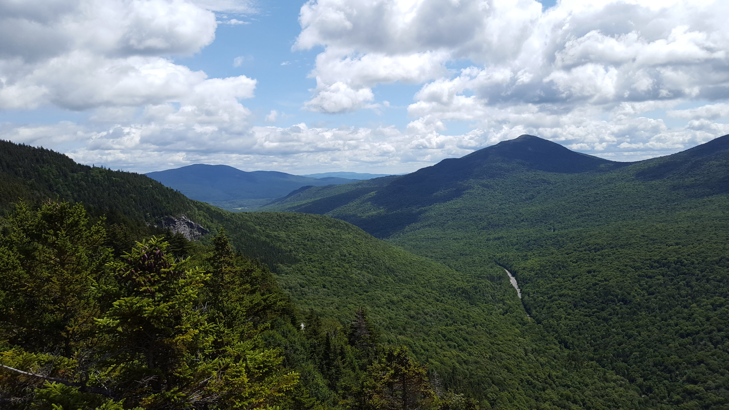 Looking out the notch past Sunday River Whitecap (right) and Puzzle Mountain (left, farther away)