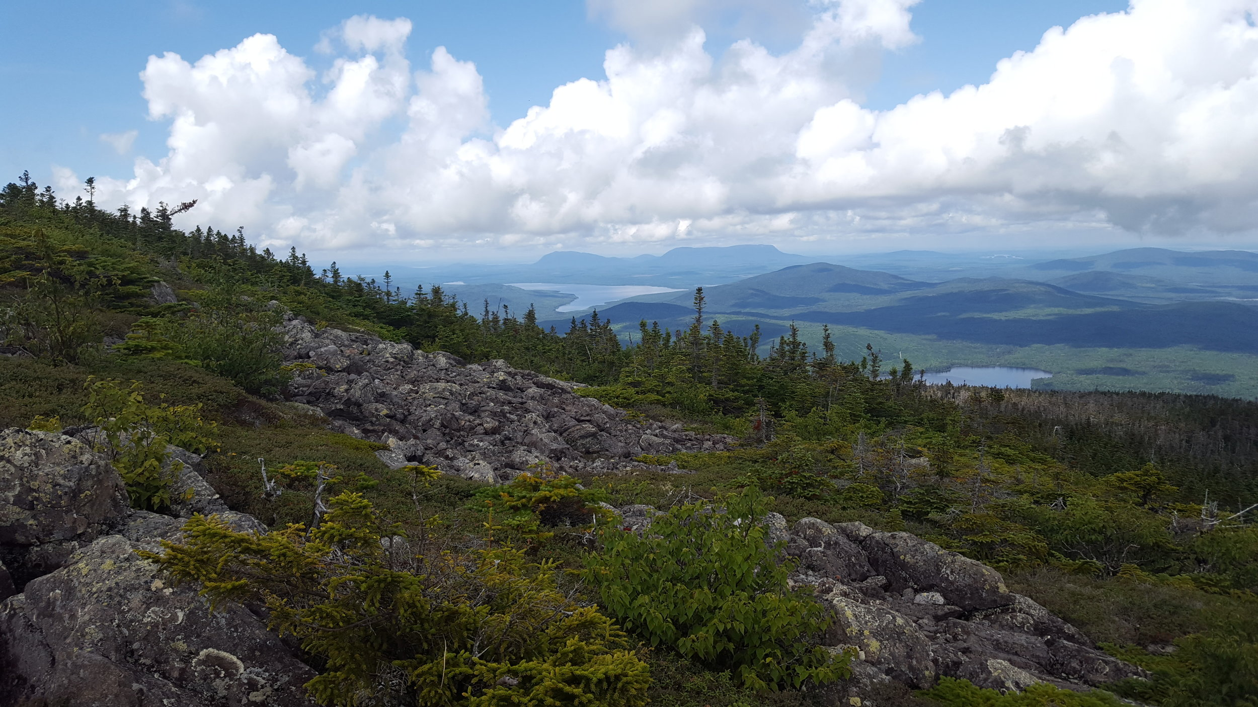 Looking northwest from near the summit. That's Little and Big Spencer Mountains across Spencer Bay (of Moosehead Lake)