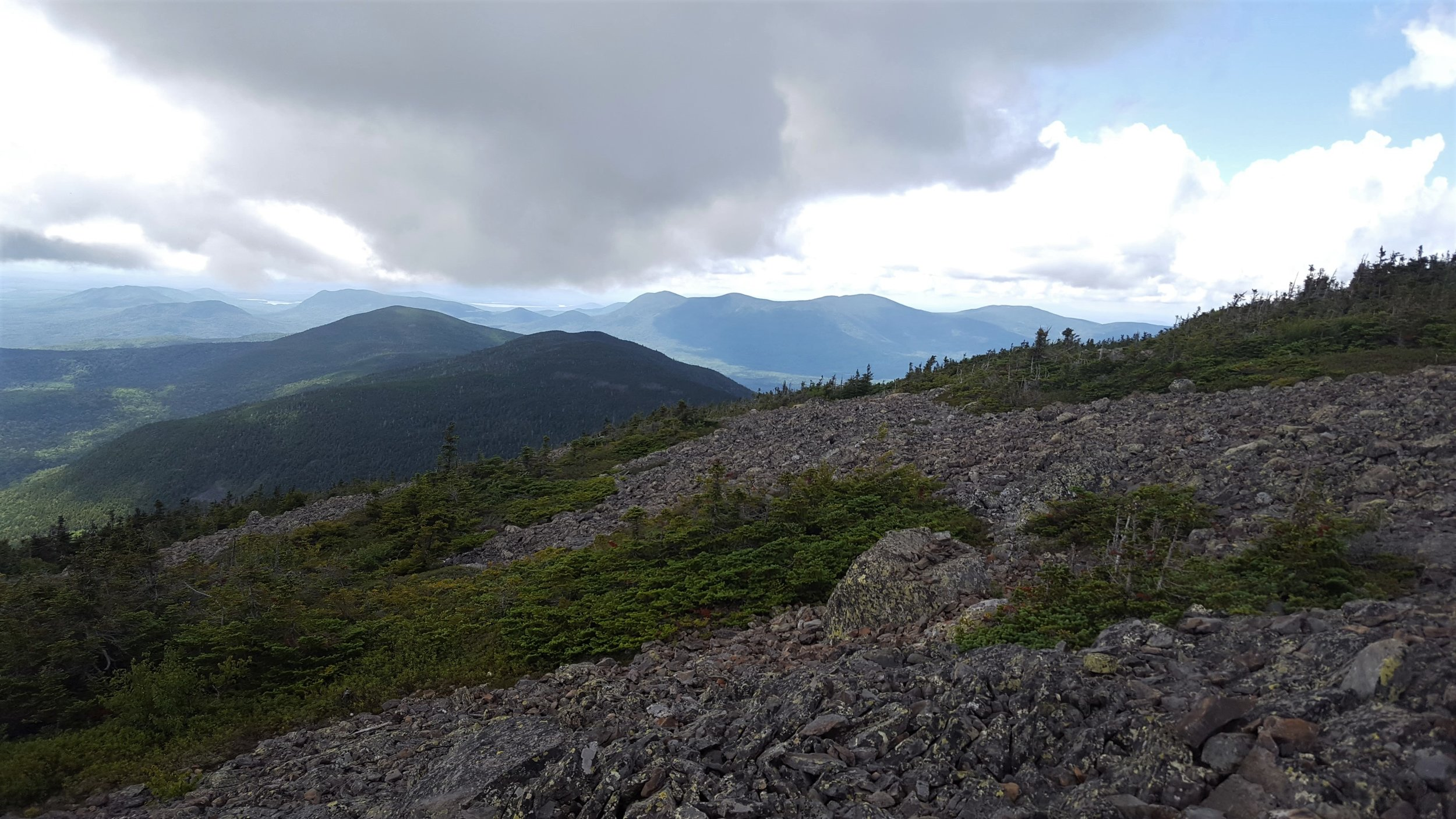 Looking southeast from the summit across Pleasant River valley to the Barren-Chairback Range