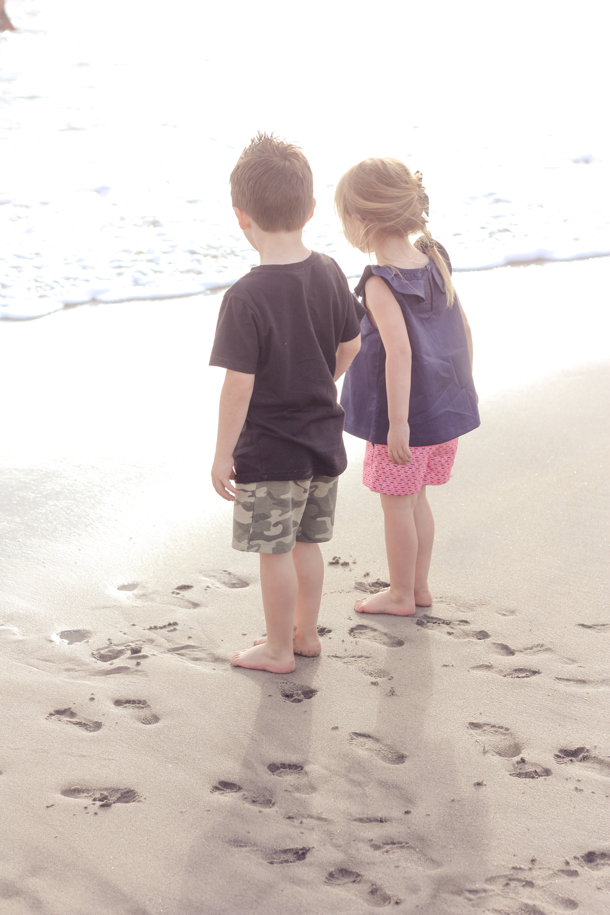 I always want to remember the look of awe as they saw the ocean, and these tiny, perfect, footprints in the sand.
