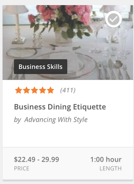 When you can't attend a live dining etiquette seminar, take our online training and hone your dining skills.  $29.99