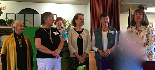 GCLA Officers for 2016-2017: President Pat Ley, VP & Programs Chair Judy Hogan, Corresponding Secretary Susan Trost, Treasurer Barbara Capron and Recording Secretary Marilyn McAlpine