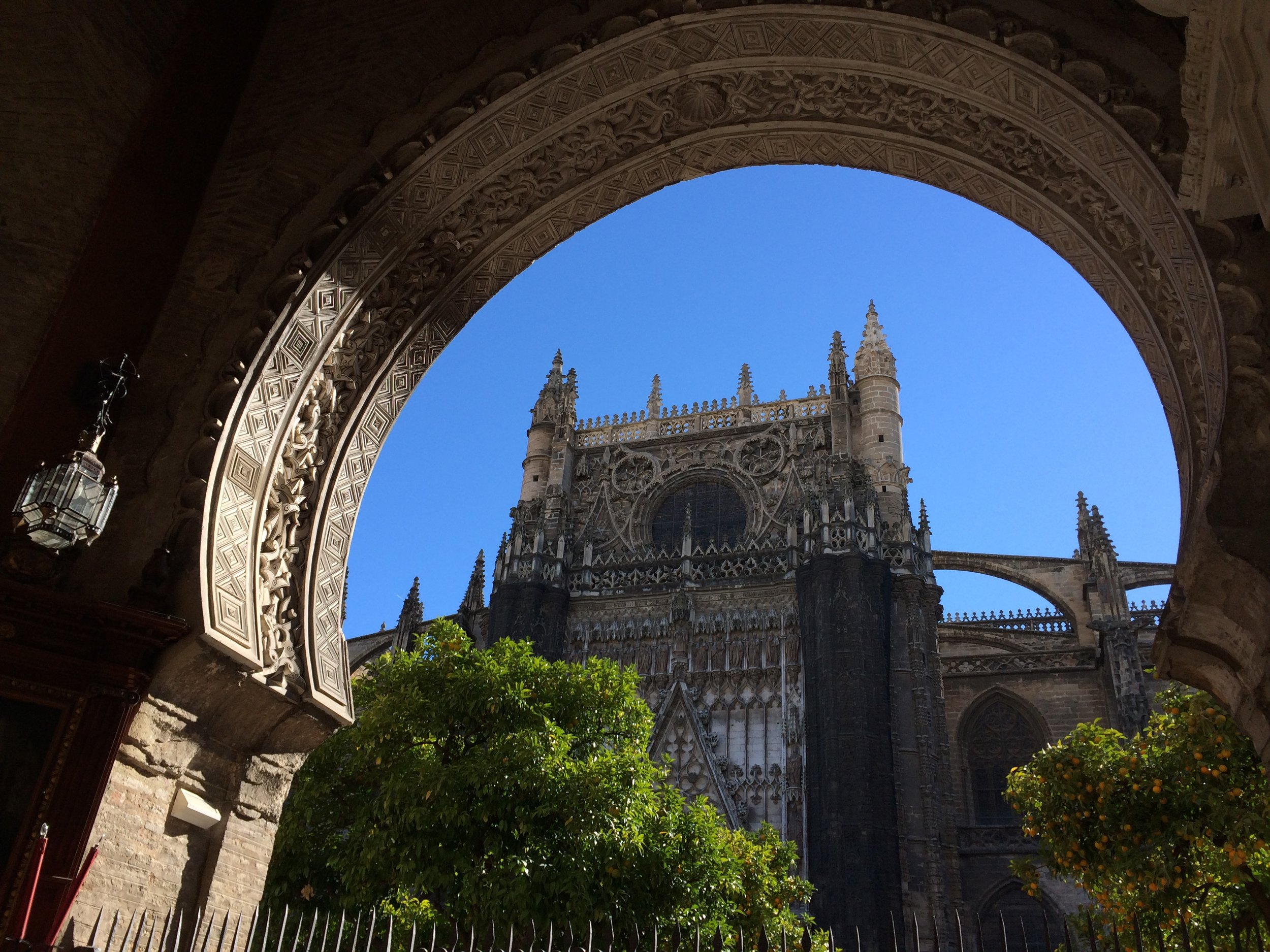 The grand cathedral in Seville, Spain