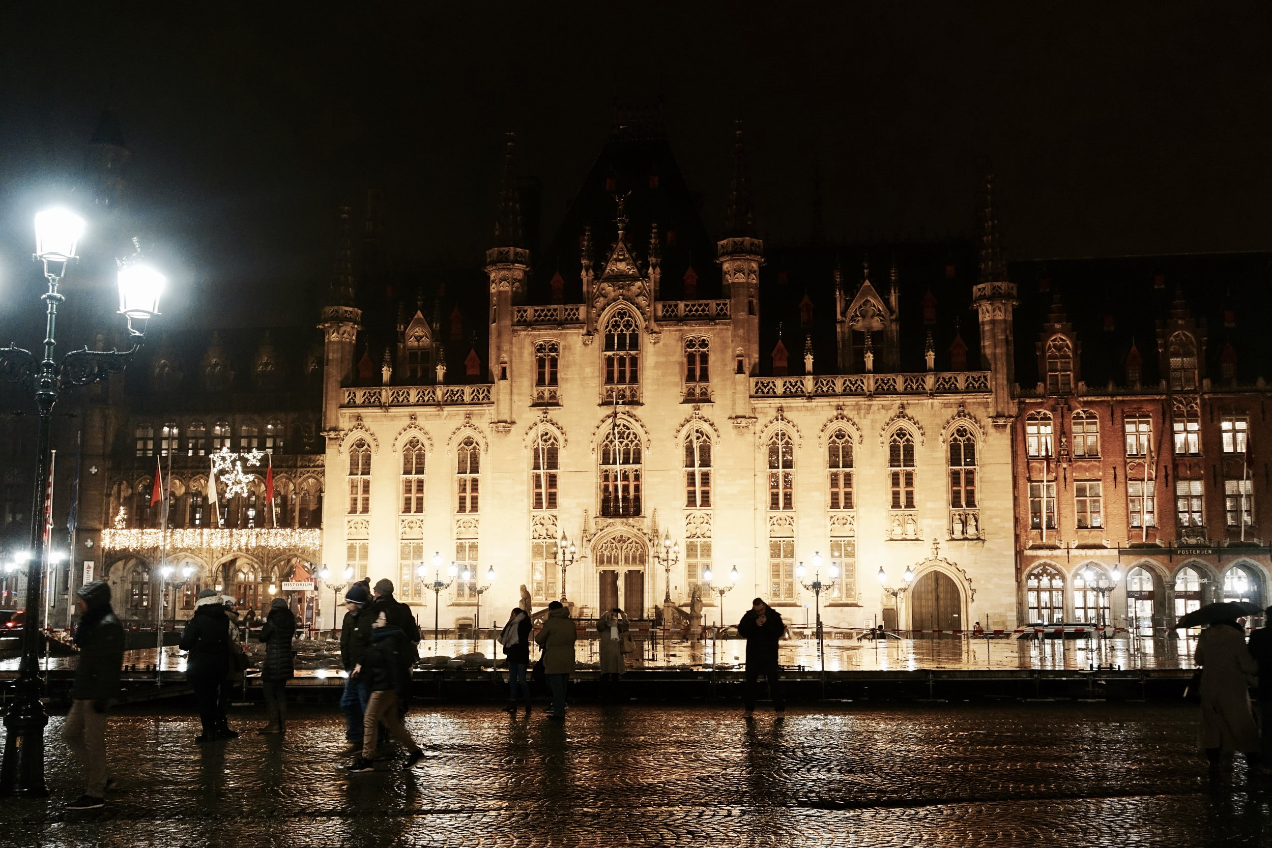 The Gothic Revival architecture of Provincial Hof, overlooking the main Markt square in Bruges