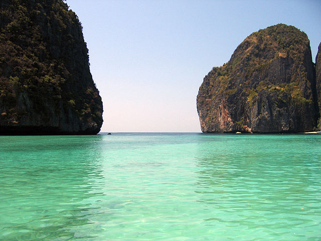 "Maya Bay, Thailand, the filming location of ""The Beach"", starring Leonardo DiCaprio.    Photo by Entropy1963/Wikimedia Commons"
