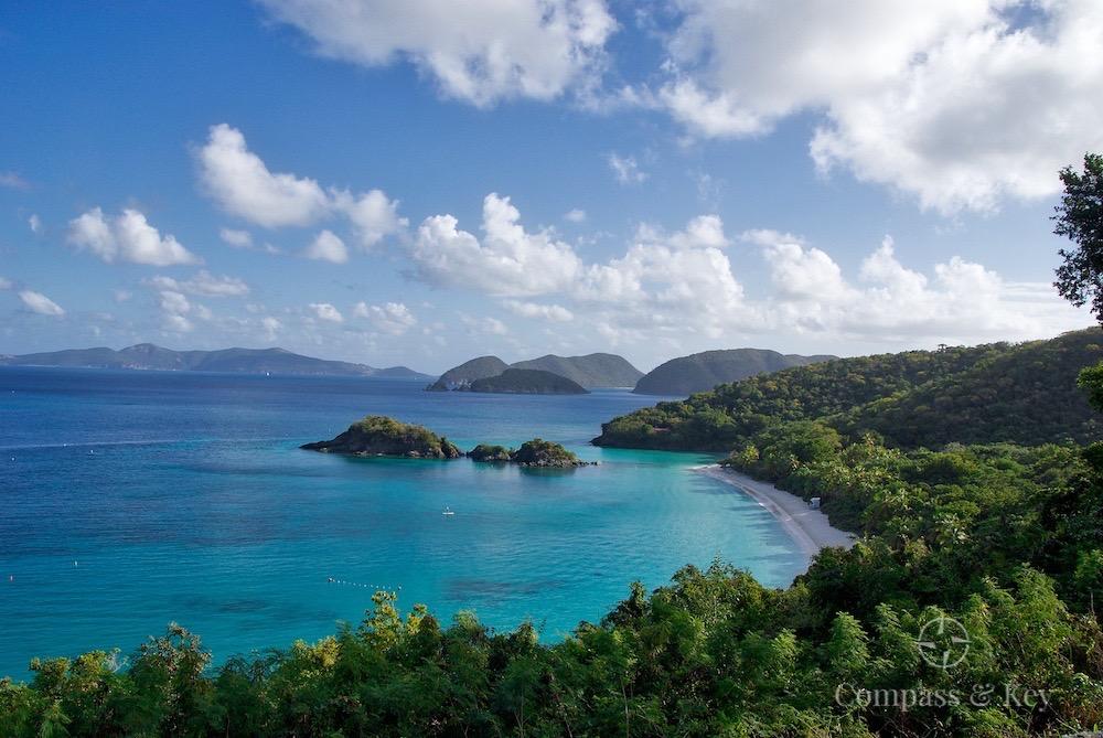 Hiking ST. John Island in Virgin Islands National Park, overlooking Trunk Bay