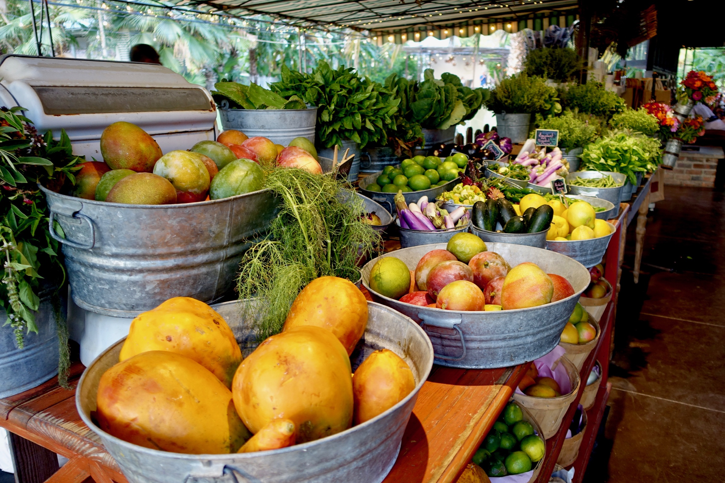 What I should have been eating while on vacation: the fresh produce on sale at  Flora's Field Kitchen  in Los Cabos, Mexico.