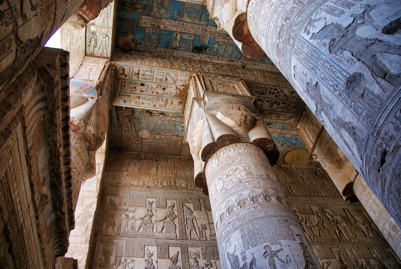 Magnificent Colors on display at the Temple oF Hathor at Dendera, north of luxor. Built by Roman Emperor TIberius in the 1st century ad, this hall includes carved scenes of Roman rulers giving offerings to Hathor, the cow goddess of feminine love and motherhood.