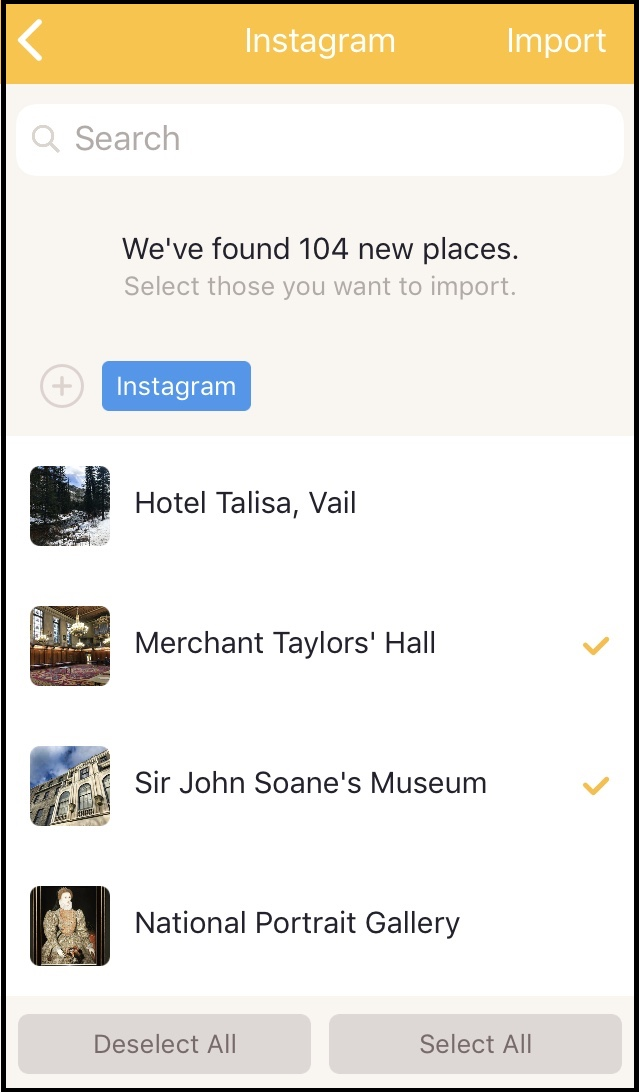 Ready to select and import my tagged places from Instagram