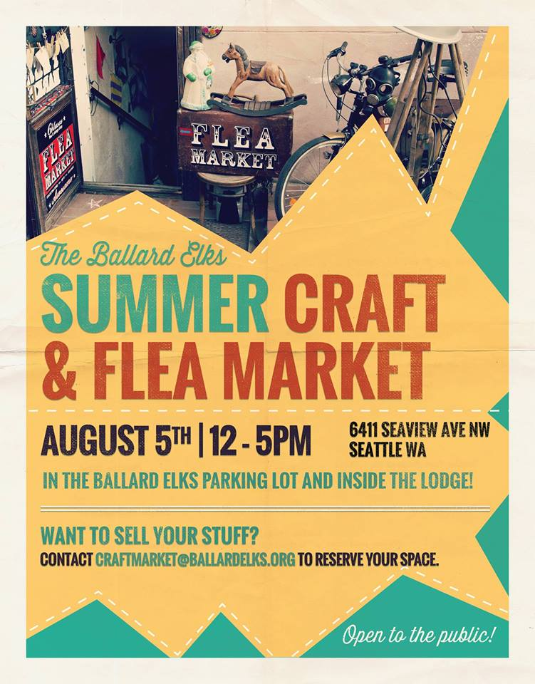 Everyone is welcome to the Ballard Elks Craft & Flea Market! We love cool stuff. We love to shop. We love the thrill of discovery. And we especially love discovering cool things in out-of-the-way places.   This year we'll be holding the event in the Ballard Elks Parking lot AND inside the Lodge Hall, which means more opportunity to find more cool stuff!  Want to sell your stuff? Email craftmarket@ballardelks.org to reserve your space.   Crafters, artists and anyone with stuff to sell is welcome!