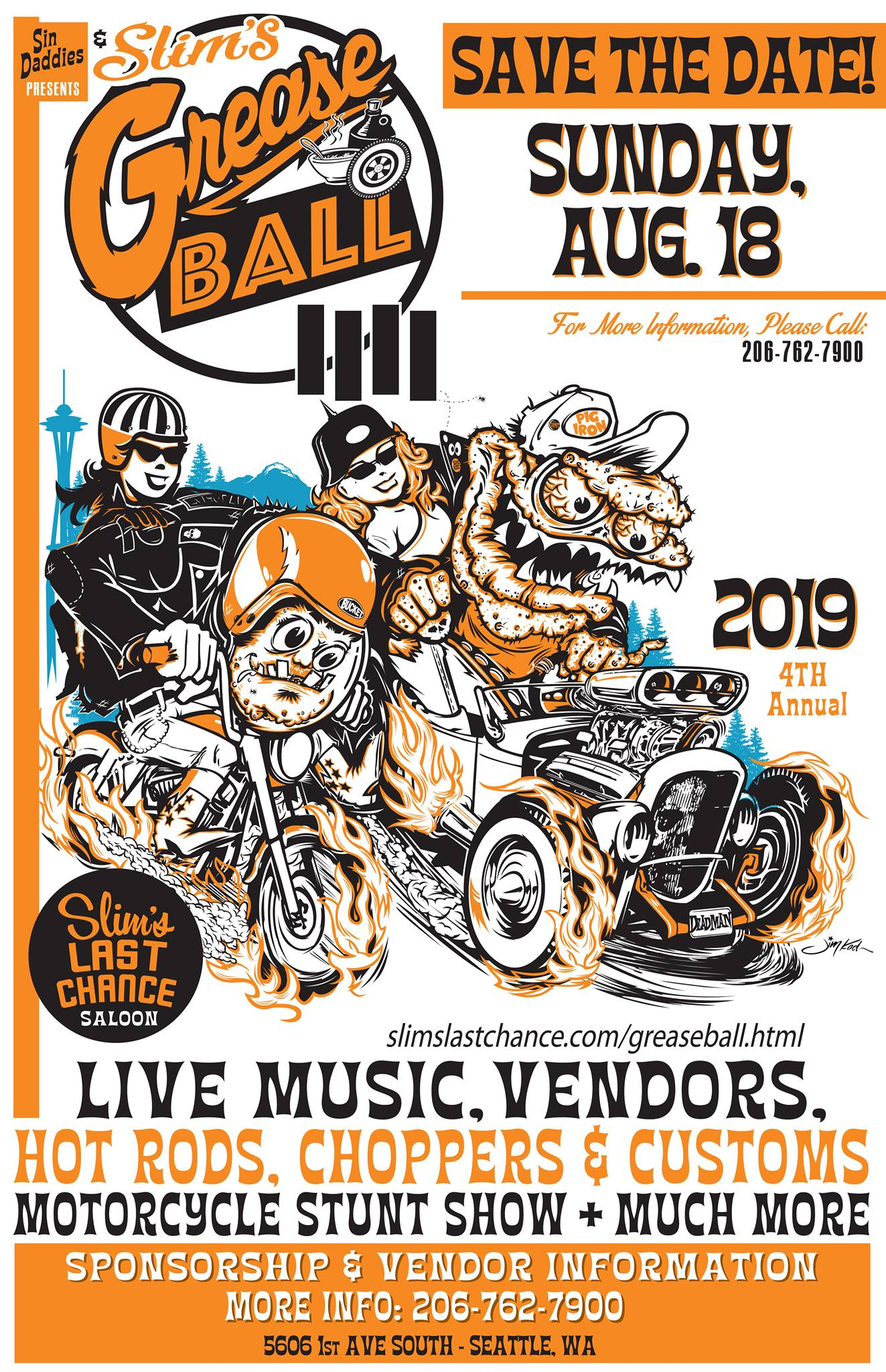 The Greaseball is an annual FREE all ages community event to showcase home built, old school hot rods, custom chops, rat rods, bobbers, vintage motorcycles, and more. We close down 1st Ave South for 3 blocks to showcase vehicles and vendors who are hand selected to make for a one of kind experience. We are honored that the Seattle Cossacks Motorcycle Team will be returning for another unforgettable performance. On the Slim's Flatbed stage we will have music by musicians TBA and MC'd by Seattle's own DJ HUBBA HUBBA.