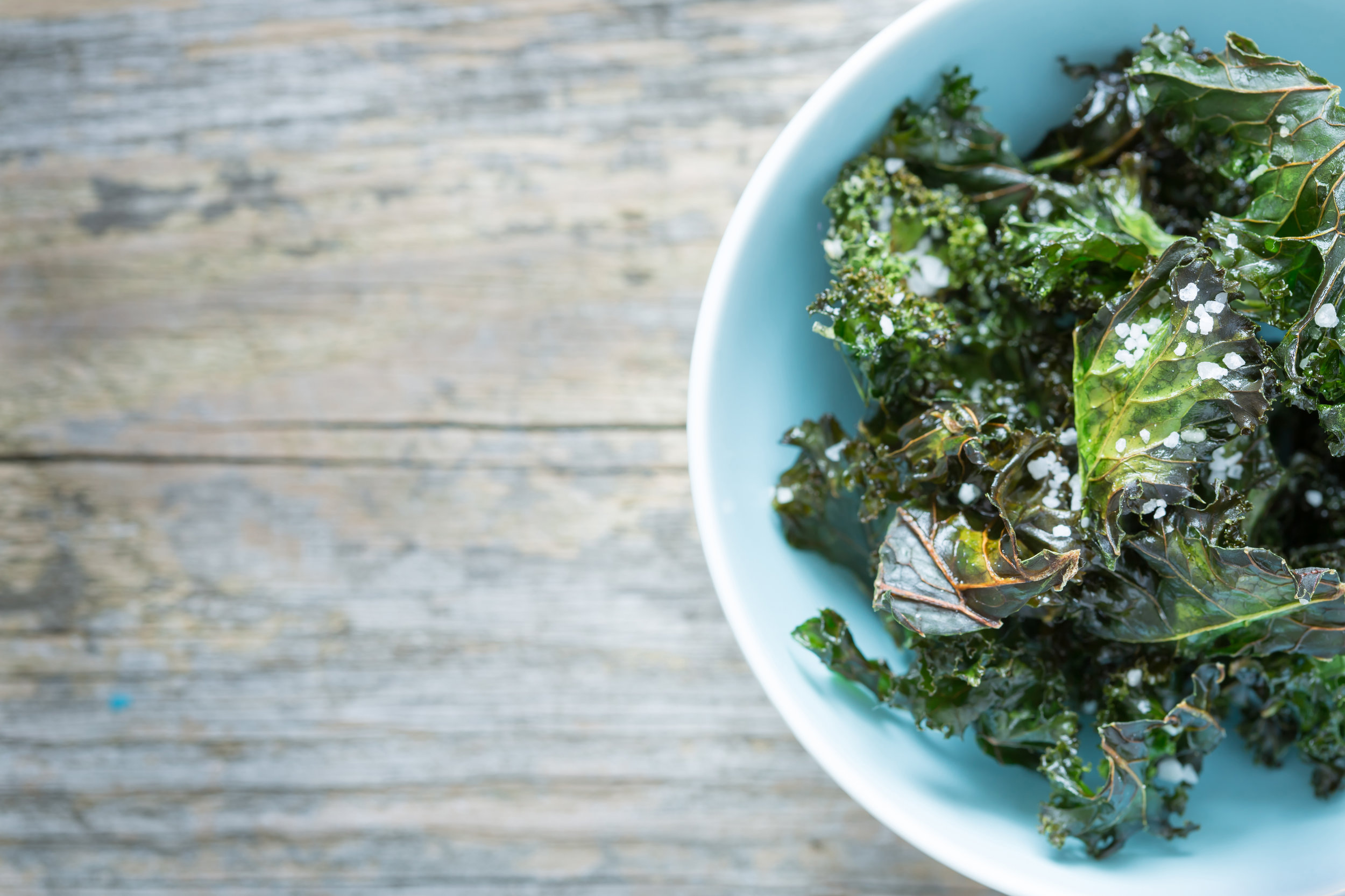 Crunch…Crunch…Just like Chips - Kale Chips (or for a more fun flavored twist, try this Spicy Kale Chip variety)