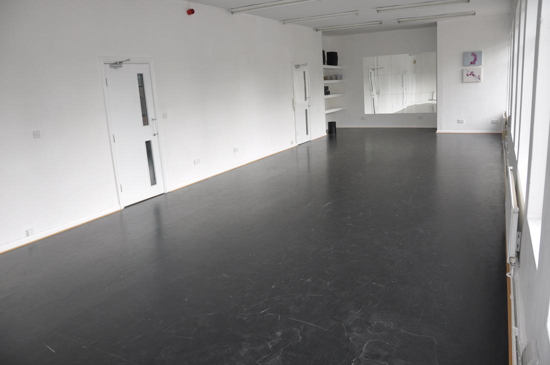 Studio 2 Studio Size : 4.8m x 12m - Location : 2nd Floor : Our longest studio - Sprung Floor Harlequin Vinyl : Sealed permanent flooring - High Ceiling - Mirrors