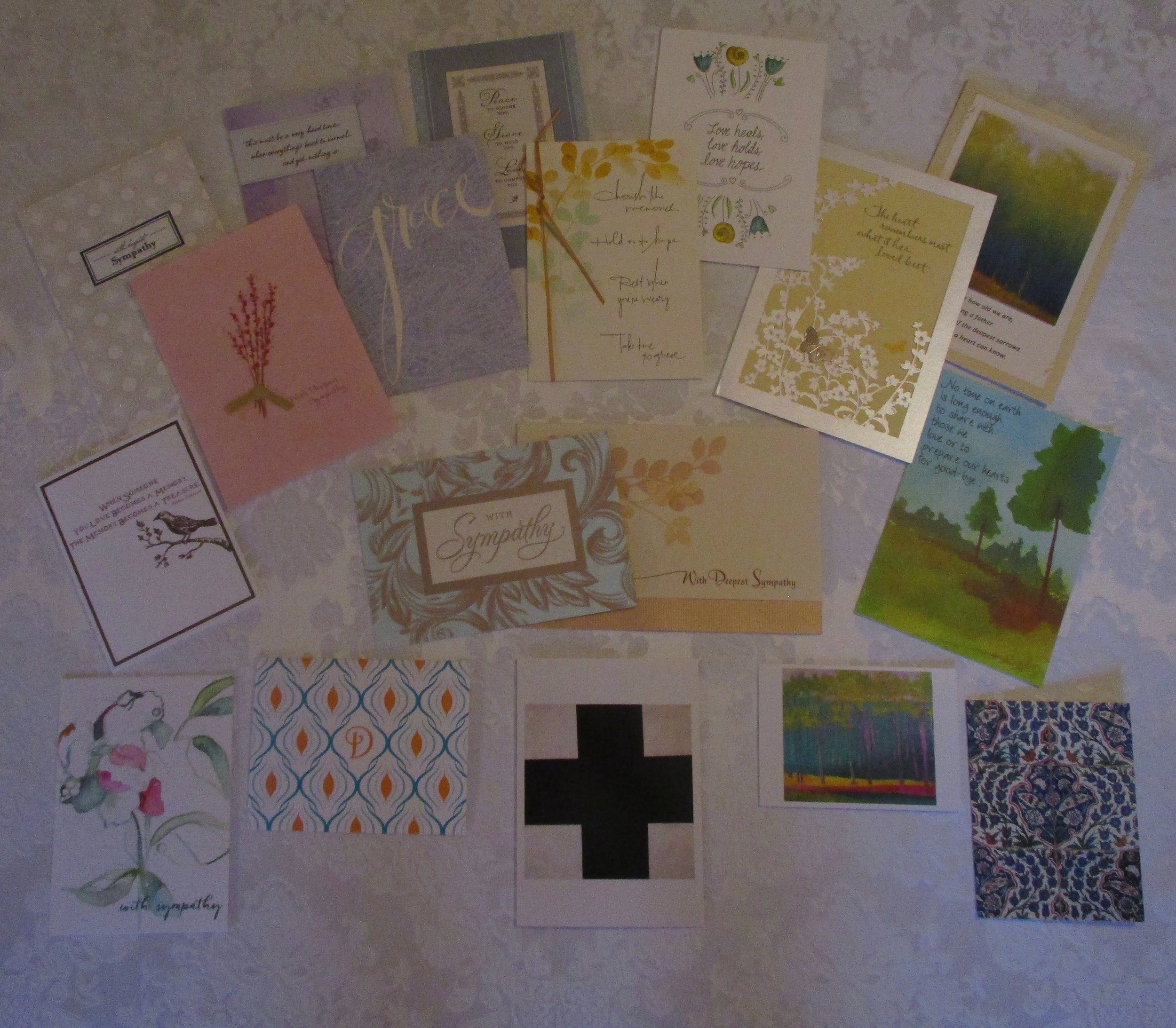A sampling of recently received condolence cards.