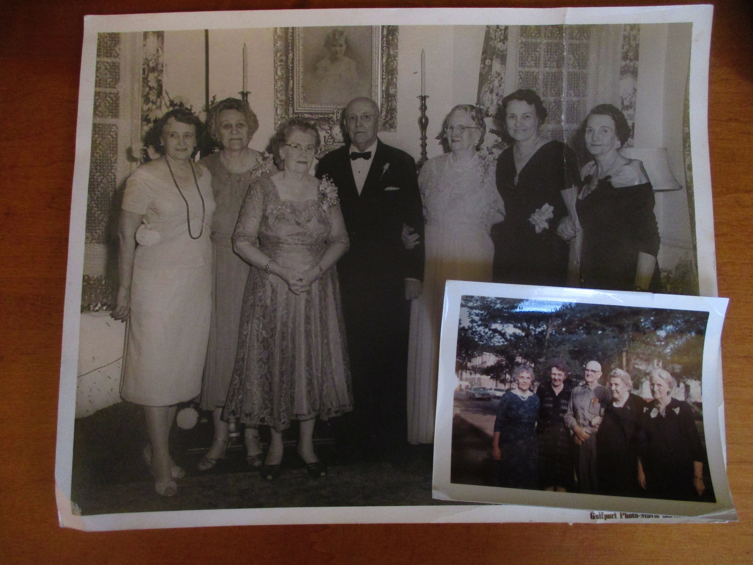 From left to right: Johnnie Dobyns, Mary Ella Dimmick, Valda Evans, Jim Evans, Fannie Hollingsworth, Kate Thomson, Lal Moody. Taken on the occasion of the 50th wedding anniversary of Valda and Jim Evans.  Inset, from left to right: Laura Sampson, Kate Thomson, Ira Dimmick, Sr., Mary Ella Dimmick, Fannie Hollingsworth, in front of the Hollingsworth home, Columbus, Mississippi, 1955.