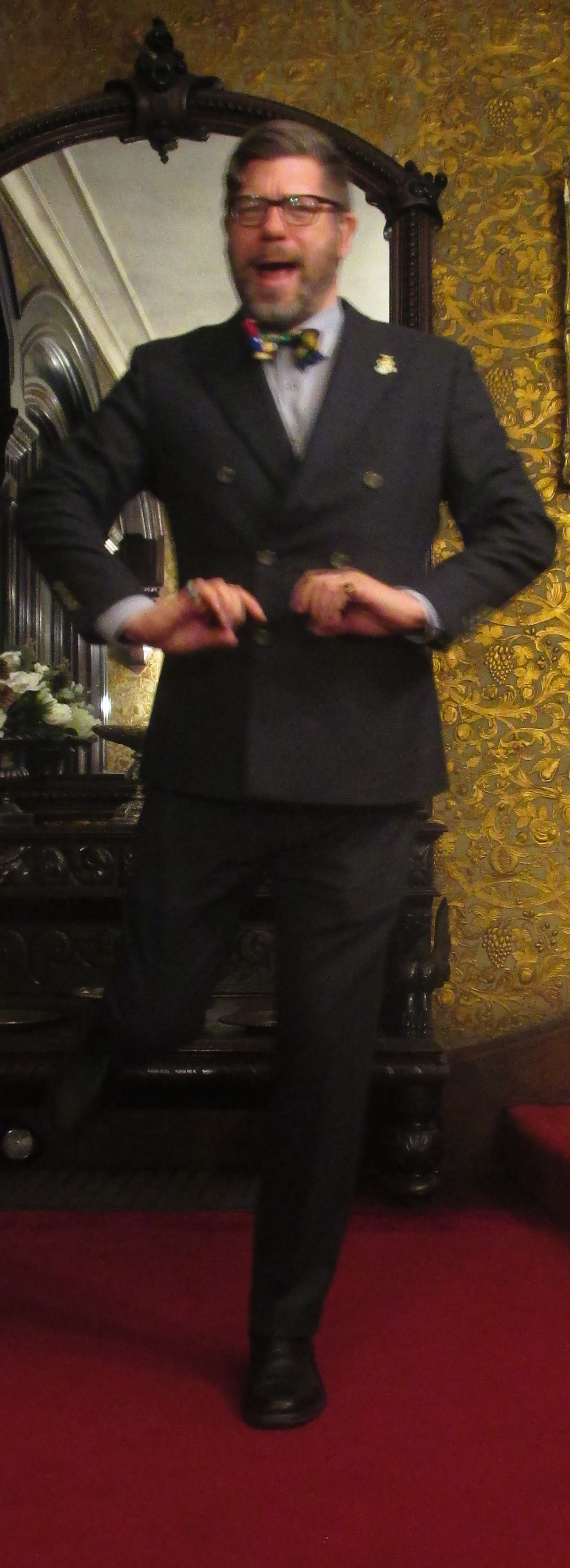 Etiquetteer cutting a rug at the Gibson House before the 2015 Repeal Day party.