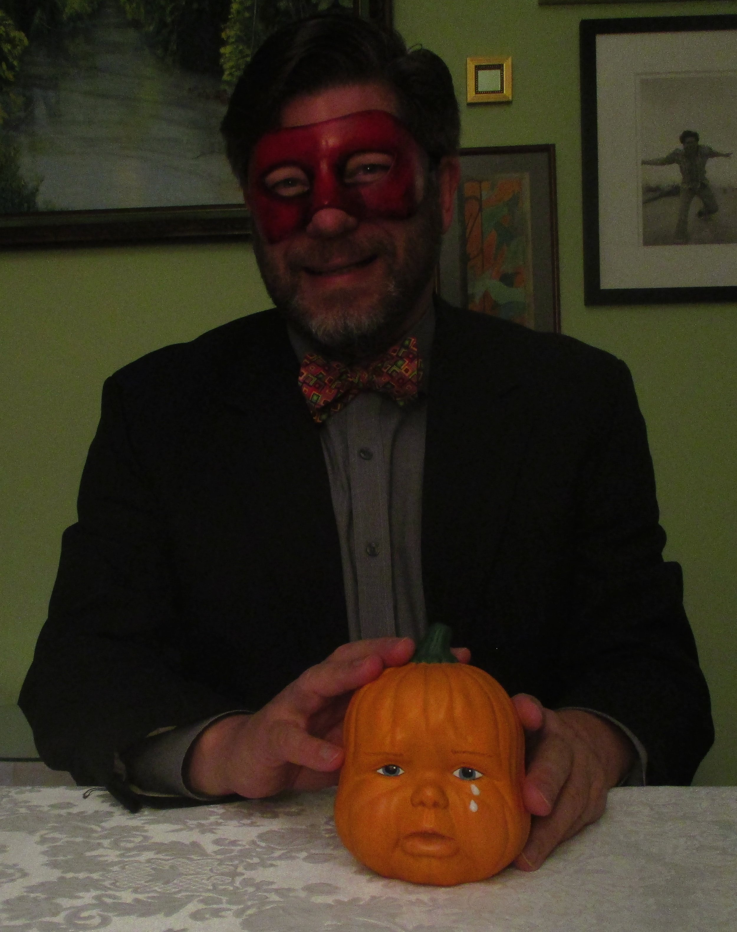 With Weeping Baby Pumpkin Head I at happier Hallowe'ens.