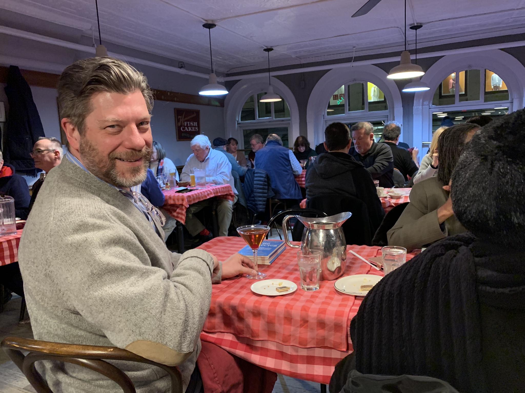 Etiquetteer enjoying one last dinner at Durgin-Park.