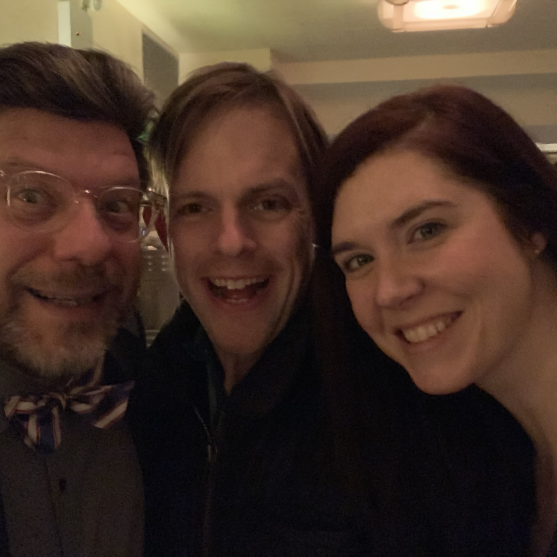 Me and the newlyweds Chas and Christina at the Café Luxembourg.