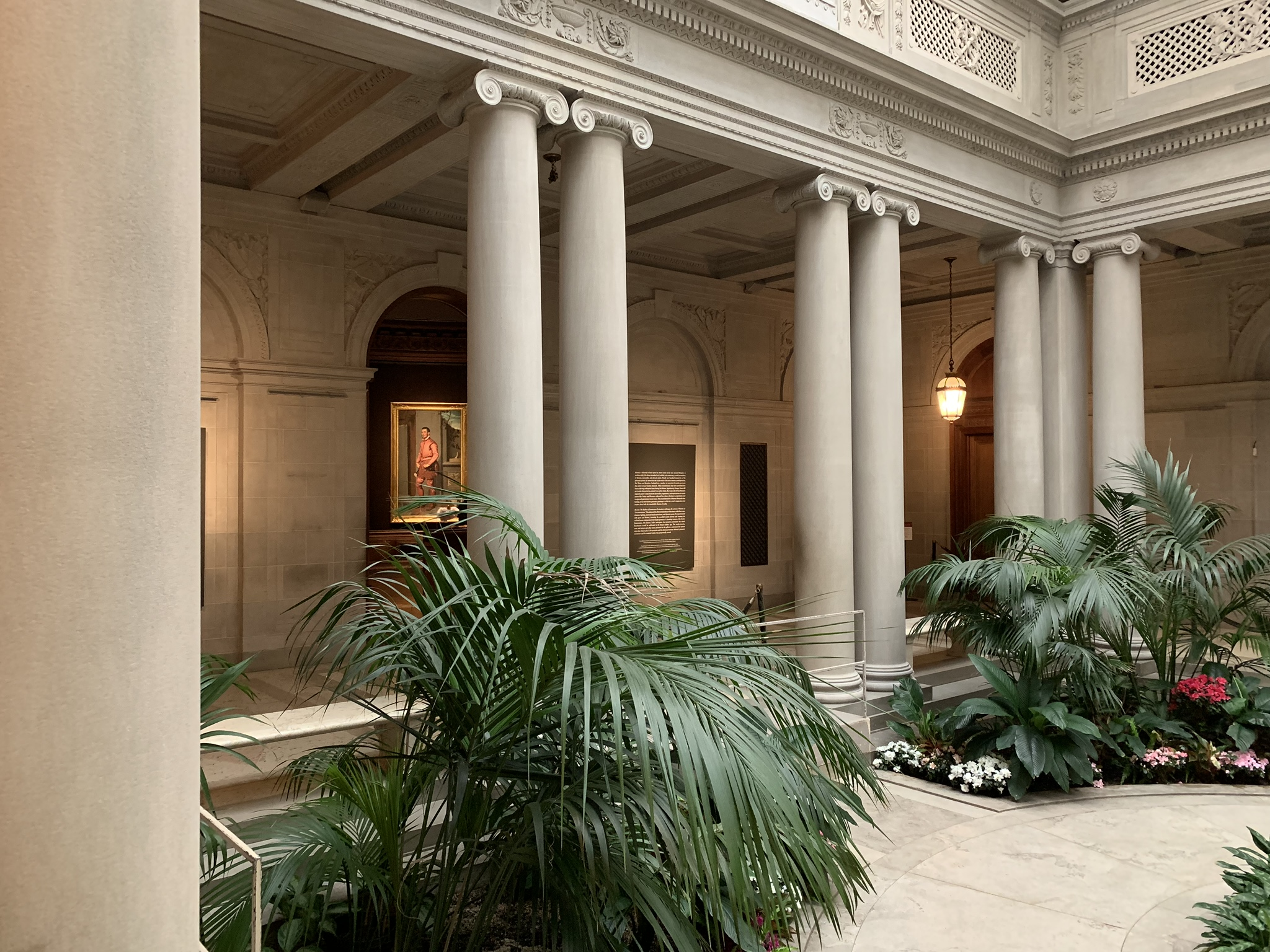 Moroni's Man in Pink visible from the Palm Court at the Frick - the only place where photographs are allowed.