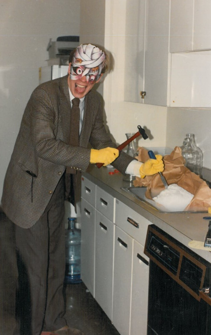 Hacking up dry ice in the old Bush Room kitchen for the punch at the famous Hallowe'en Sherry Hour of 1992 or 1993. I was known for the awesomeness of my themed sherry hours.