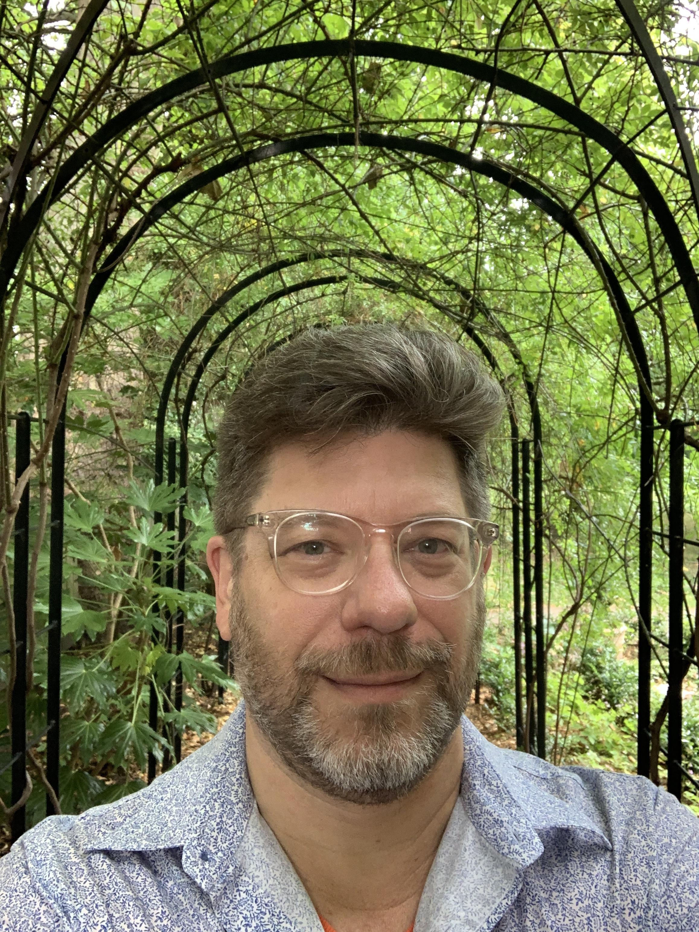 Me in the garden at Leighton House.