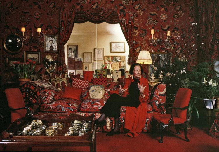 """Diana Vreeland in her Garden of Hell. In the words of the late Mae West, """"Too much of a good thing is wonderful."""""""