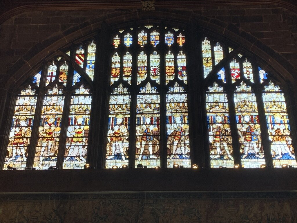 Stained glass window in the Guild Hall, Coventry.