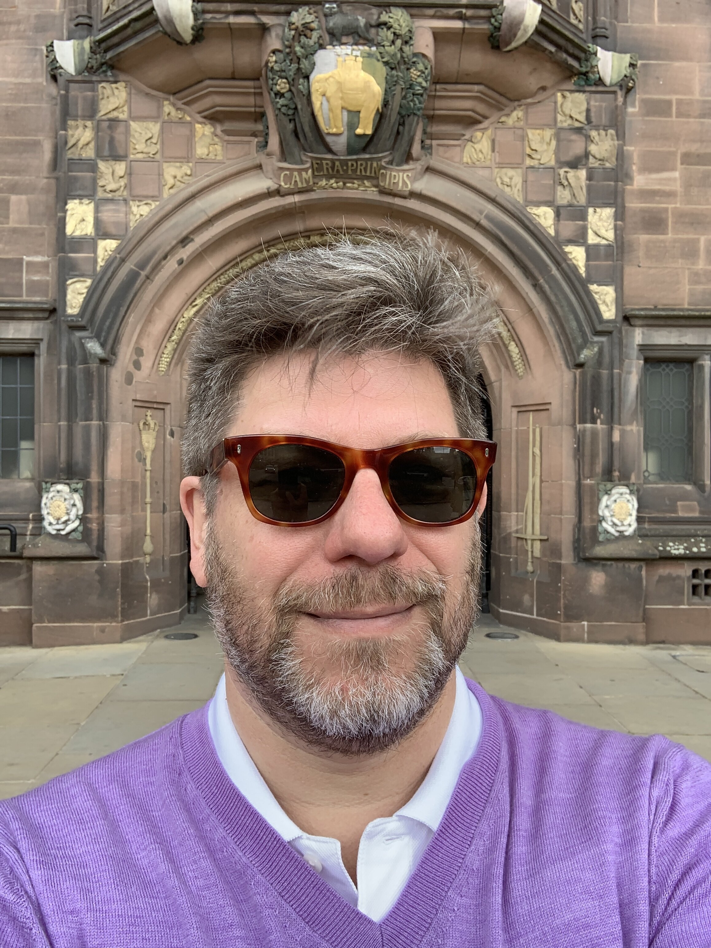Coventry Town Hall selfie. Observe how carefully I've centered myself. :-)