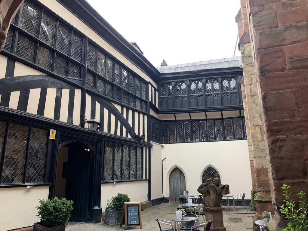 Exterior of the Guild Hall courtyard. That overhang is just going to fall off some day.