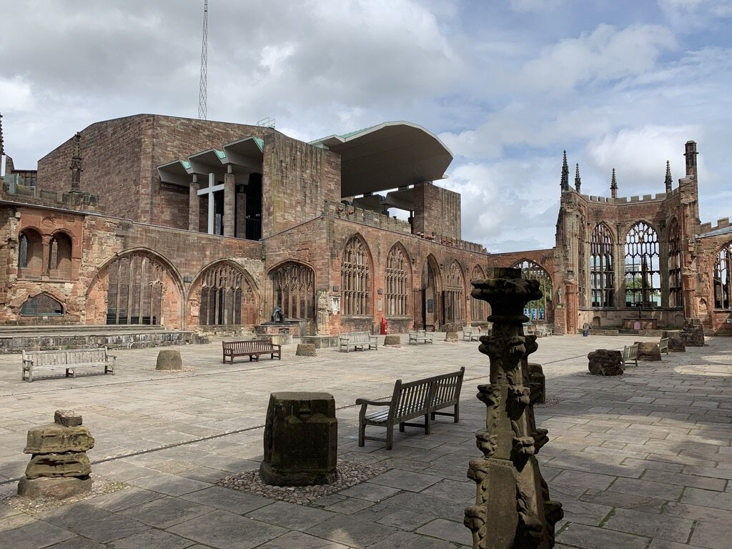The bombed Coventry Cathedral, with the new cathedral to its side.