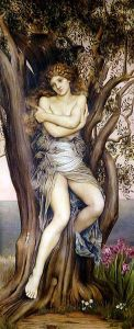 """The Dryad"" by Evelyn de Morgan (1855 – 1919, artwork in public domain) (The word ""dryad"" originates from the Greek word ""drys"" for oak, but has come to mean all tree nymphs)"