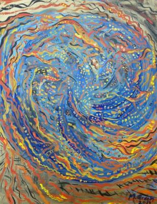 Golden World Spiral  , Acrylic on Canvas