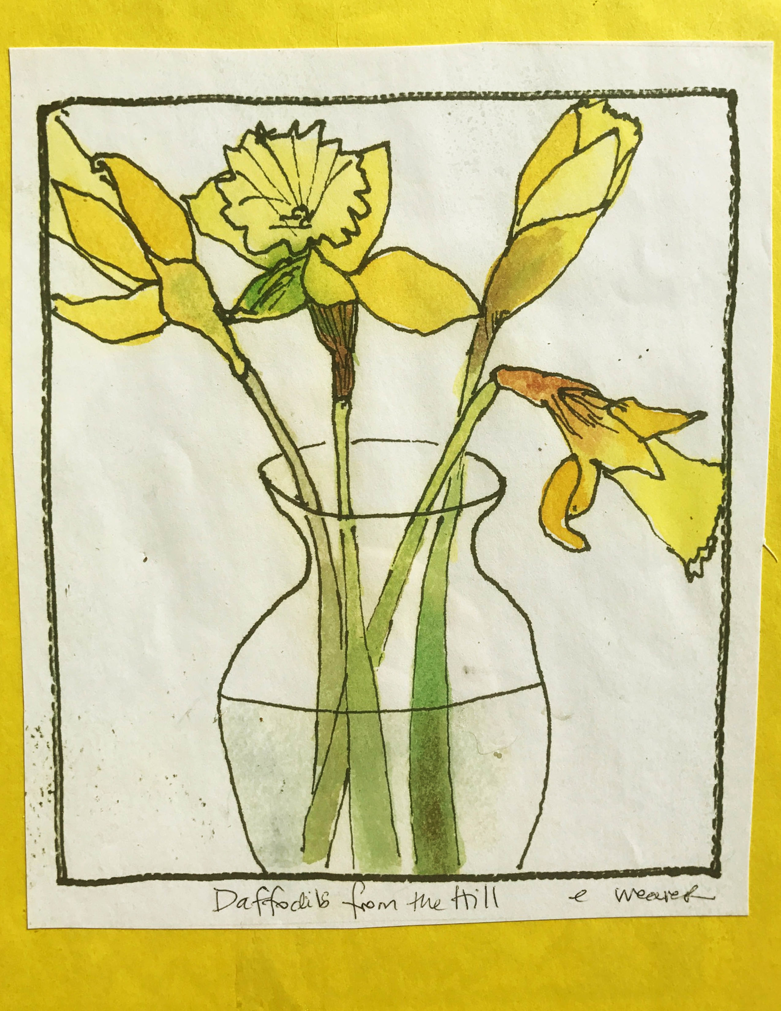 "Daffodils on the Hill 7.5""x9"""