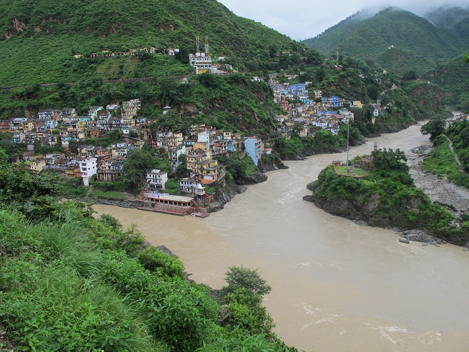 Ganges River Sacred Confluence of Alaknanda & Bhagirathi RIvers