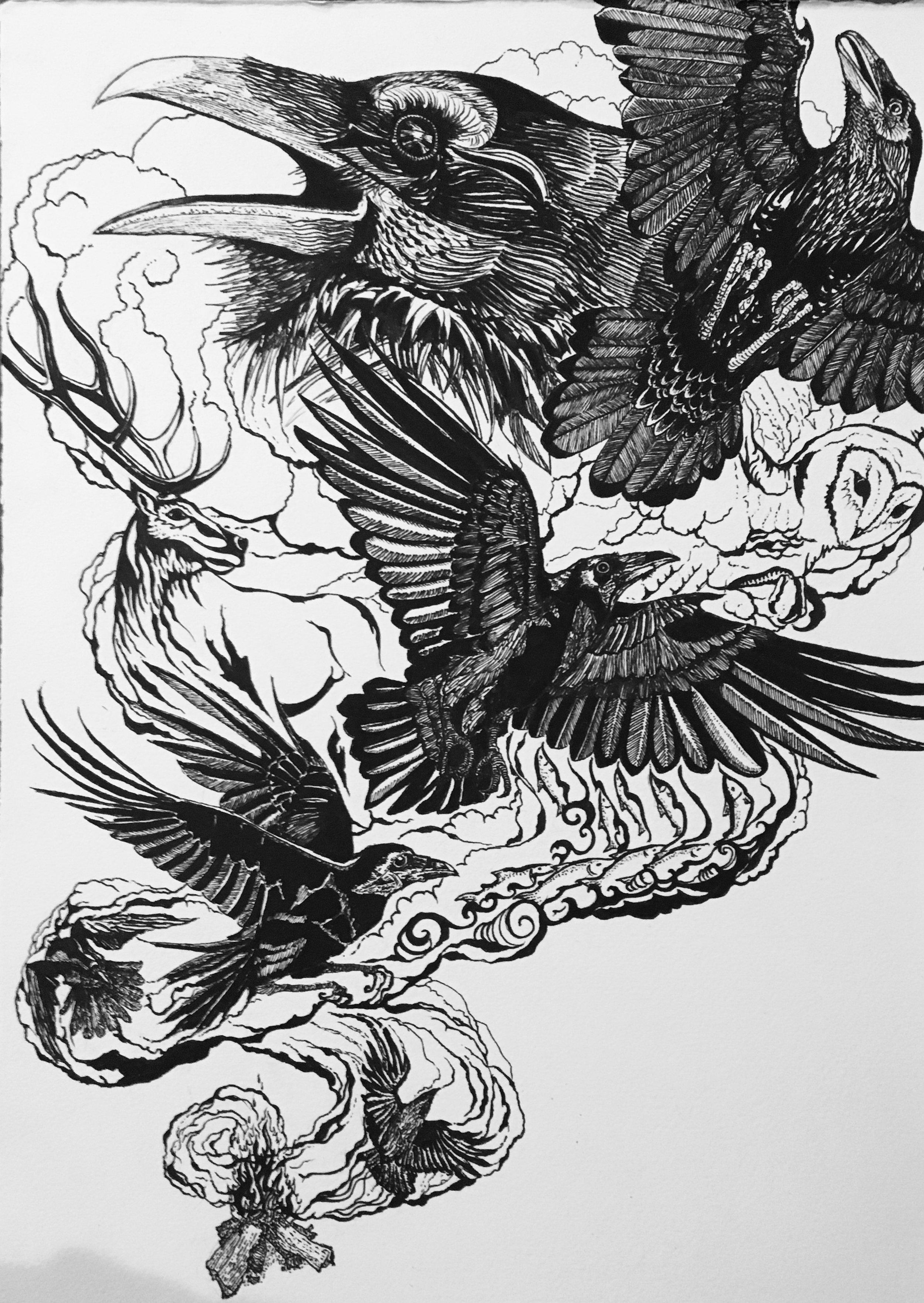 Raven Fire Sketch by Rene Henery