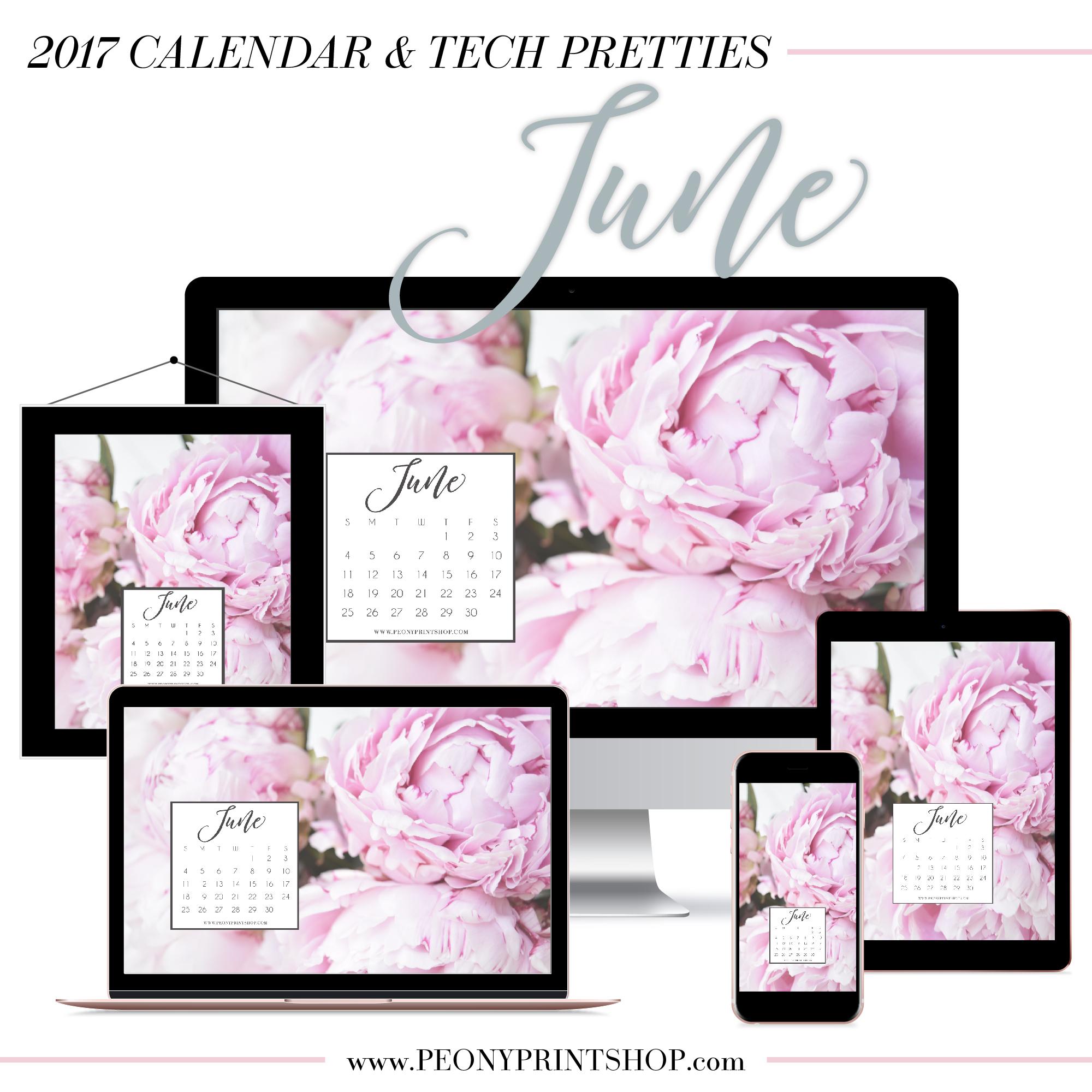 2017 June Calendar + Tech Pretties  |  PeonyPrintshop.com