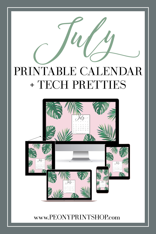 July 2017 Freebies - Printable Calendar & Tech Pretties  |  PeonyPrintshop.com | Custom Wedding Invitations & Stationery