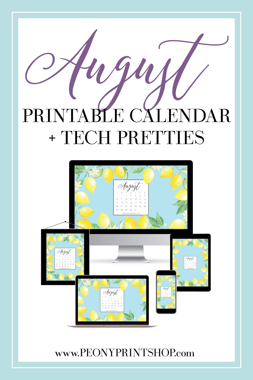 August 2017 Freebies - Printable Calendar & Tech Pretties     PeonyPrintshop.com   Custom Wedding Invitations & Stationery